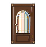 Vintage door with gilded bars. On a white background stock illustration