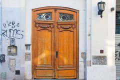 Vintage Door with Graffiti Building Retro. Exterior Abstract Sign Architecture Town stock photography