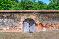 Vintage door of great palace of king Narai, King of Ayutthaya kingdom Royalty Free Stock Photography