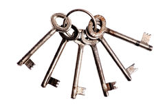 Vintage door keys on a ring Stock Photo