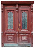 Vintage door of mahogany was made by the unknown master. This vintage retro door of mahogany was made by the unknown master more than hundred years ago. Isolated Royalty Free Stock Images