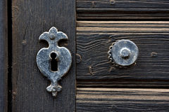 Vintage door mounting and keyhole of wooden antique door Royalty Free Stock Images