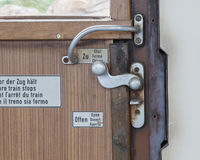 Vintage door on the train compartment royalty free stock photos