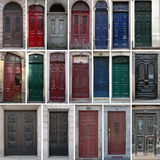Vintage doors. Set of 19 old doors of the city of Porto, Portugal Royalty Free Stock Photo