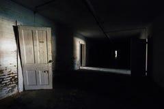 Vintage Doors in Creepy Basement - Abandoned Sweet Springs - West Virginia stock photography