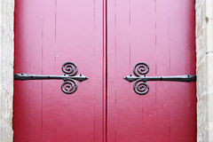 2 vintage doors with red painting and metal partten Stock Images