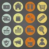 Vintage dos ícones da compra Foto de Stock