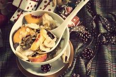 Vintage dos cereais de café da manhã do Natal imagem de stock royalty free