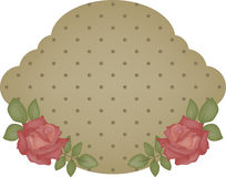 Vintage dotted sticker. With roses, isolated royalty free illustration