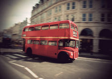 Vintage double decker bus. Vintage red double decker bus in London Stock Images