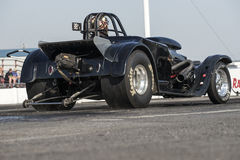 Drag racing. Napierville september 13, 2014 rear side view of vintage drag car on the track ready to start during drag event Stock Images
