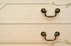 Vintage drawers. Drawers with classic decoration and retro knob Stock Image