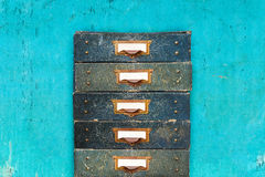 Vintage drawers with empty labels Royalty Free Stock Images