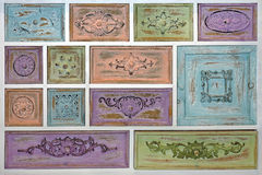 Vintage Drawers. Vintage Style Cabinet With Many Colorful Drawers Royalty Free Stock Photos