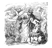 Vintage Drawing of Biblical Abraham is Going to Sacrifice Isaac, but is Stopped by Angel. Vintage antique illustration and line drawing or engraving of biblical stock illustration