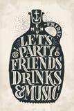 Vintage drawing cover menu for pub, bar, cafe and restaurant royalty free illustration