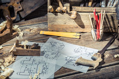 Vintage drawing desk in carpenter workshop Stock Images