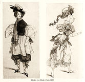 Vintage drawing,  ladies with hats and masquerade costumes Royalty Free Stock Photography