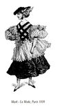 Vintage drawing,  lady with hat and masquerade costume Stock Image