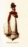 Vintage drawing,  lady with hat and muff, London fashion 1817 Stock Photo