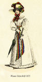 Vintage drawing,  lady with hat and parasol, Vienna  fashion 182. Vintage fashion illustrated,Wiener Zeitschrift, Vienna  1825 Stock Photos