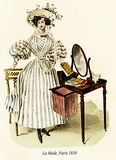 Vintage drawing,  lady with hat, ribbons and striped dress Royalty Free Stock Images