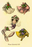 Vintage drawing,  lady with hat and scarf  Stock Images