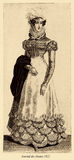 Vintage drawing,  lady with hat and scarf, Paris fashion 1822 Stock Photos