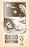 Vintage drawing of the sun, moon and stars. Good Royalty Free Stock Image