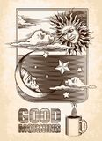 Vintage drawing of the sun, moon and stars. Good. Morning. Vector illustration stock illustration