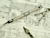 Vintage drawing tools Royalty Free Stock Photo
