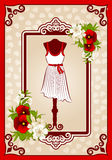 Vintage dress with lace ornaments. royalty free illustration