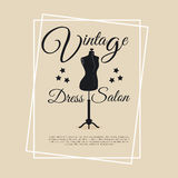 Vintage dress salon logotype with mannequin Royalty Free Stock Photo