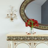 Vintage dressing table with roses on and mirror in carved frame Stock Photos