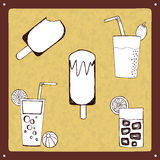 Vintage drinks and ice lollies set Royalty Free Stock Images