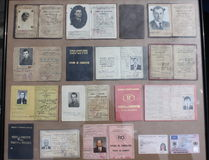Vintage driving licenses. During the communist period in Romania until 1989.sig stock image