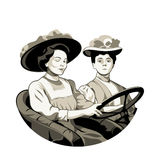 Vintage driving women Royalty Free Stock Image