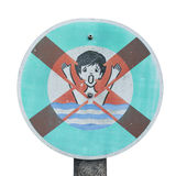 Vintage drown warning sign Stock Photography