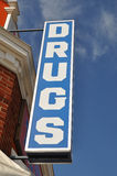 Vintage Drugs Store Sign. Vintage convenience drugs store sign Stock Image