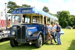 Vintage 1949 A.E.C Regal III bus. ELVASTON, DERBYSHIRE, UK. JULY 04, 2015. Vintage A.E.C Regal III from 1949 restored and preserved on display at the Elvaston royalty free stock image