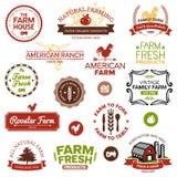 Vintage e etiquetas modernas da exploração agrícola Imagens de Stock Royalty Free