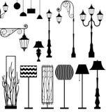 Vintage e grupo moderno da lâmpada Imagens de Stock Royalty Free