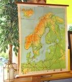 Vintage e mapa topográfico retro de Europa noroeste Foto de Stock Royalty Free