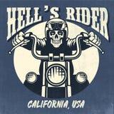 Vintage e projeto oxidado do crânio que montam uma motocicleta ilustração royalty free