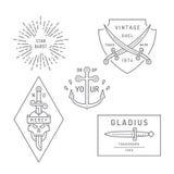 Vintage e projeto retro dos logotipos do estilo ilustração royalty free