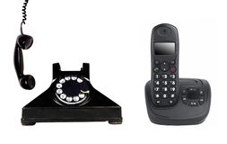 Vintage e telefone moderno imagem de stock