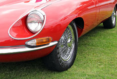 Vintage e type jaguar. Photo of a beautiful vintage e type sports jaguar car displayed at whitstable vintage car show on 8th june 2013 Stock Photo