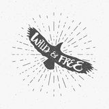 Vintage eagle with hand drawn lettering slogan. Retro silhouette monochrome animal design with inspirational typography Stock Images