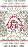 Vintage eagle heart chief trail. Vector print for t shirt in custom colors grunge effect in separate layer royalty free illustration