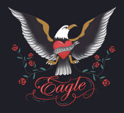 Vintage eagle tattoo hand drawn. Vector Stock Photo
